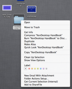 Right click menu to send to SherFile folder with Mac OSx, missing feature on Windows