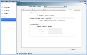 Use the Connectors tab to enable the Backup Data Connector (BDC) share, which allows you to export backups directly from the PHD VBA. In addition, the Connectors tab is used to allow remote access to your PHD VBA's locally attached storage when using VM Replication or for use with the PHD Virtual Backup Exporter.