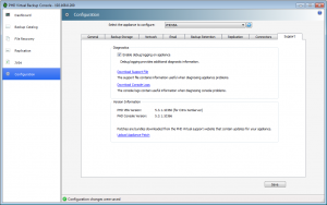 Support tab to enable disable debuging and having verison number used for PHD Virtual Backup products