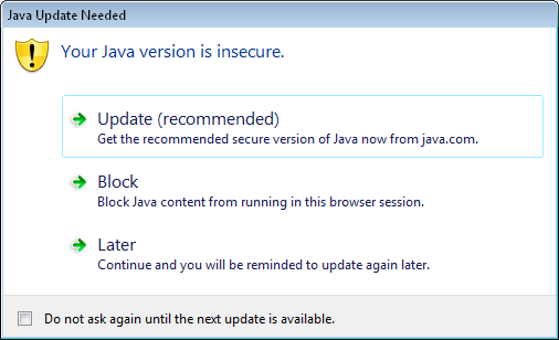 Java Runtimes JRE7 – Your Java version is insecure popup